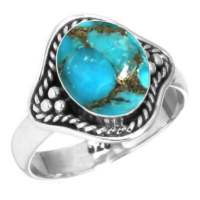 925 Sterling Silver Ring Copper Blue Turquoise Handmade Jewelry Size 8.5 gK46104