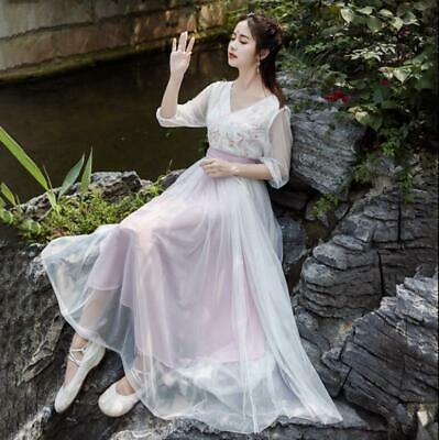 Ladies Retro White Dress Long Chinese Ancient Fairy Clothes Hanfu Tang Lit01