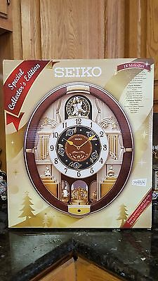 NIB Special Collector Edition SEIKO 18 MELODIES MOTION MUSICAL CLOCK QXM487BRH