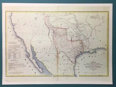 Antique 1844 Map Of Texas And Countries Adjacent Vintage Copy
