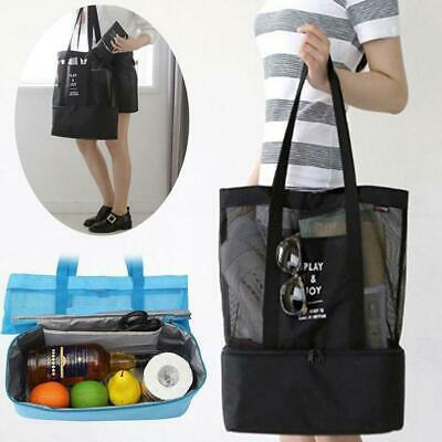 Mesh Beach Bag Portable Double Layer Picnic Toy Cooler Picnic Single Tote Bag