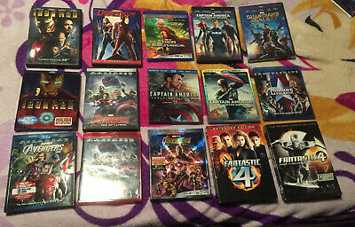 Lot Of 12 Marvel Movies On Blu Ray & DVD: Avengers, Iron Man, Captain America, +