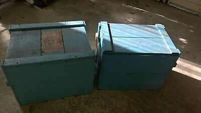 2 Vintage Painted French Wooden Storage Boxes