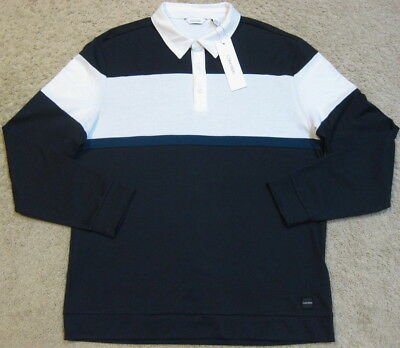 12f214a3 Calvin Klein Modern Long Sleeve Stretch Rugby Shirt Blue White Polo Men L  Large