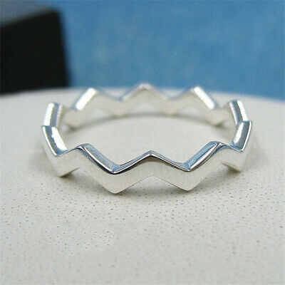 4230fa73a Authentic 100% 925 Sterling Silver Timeless Zigzag Stackable Ring Size 5 6  7 8 9