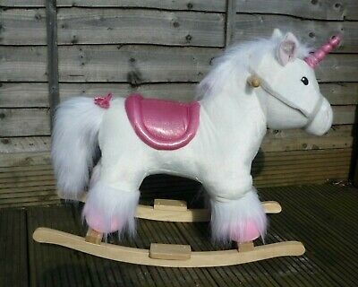 White & Pink Unicorn Rocking Horse Ride On Toy With Sounds Trotting Neighing etc