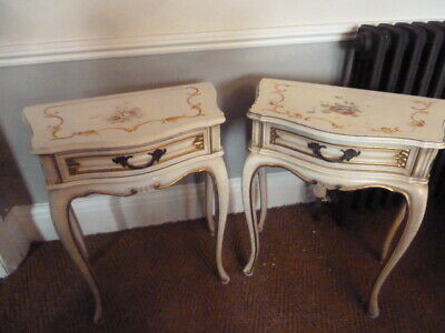 Vintage Louis XV French Shabby Chic PAIR OF BEDSIDE TABLES Floral Mid Century