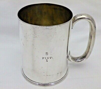 Antique One Pint Silver Plate Classic Shaped Tankard