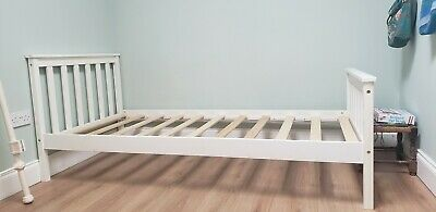 Single wooden bed white frame