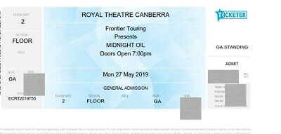 1 Midnight Oil ticket Canberra General Admission Floor SOLD Out Royal Theatre