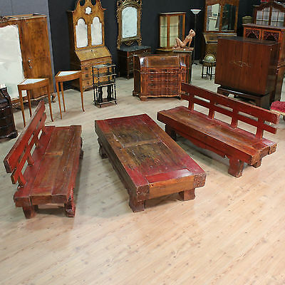 Set Pair of Pews Table in Lacquer Red Wood Paint Antique Style 900 Xx