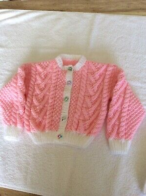 Brand New  Hand Knitted Baby Pink Cardigan