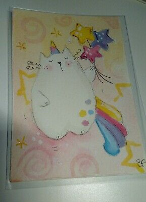 original watercolor ACEO- happy cat unicorn stars
