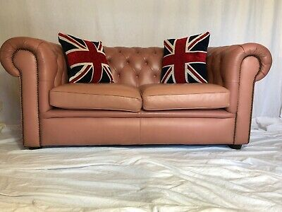 1 Luxury Handmade Vintage Leather Chesterfield Sofa 2 Seater Settee Salmon Pink
