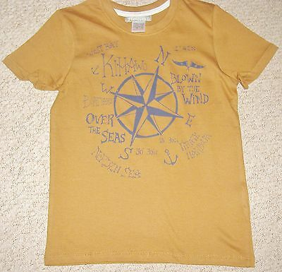 Boys Tan Brown Short Sleeve Top With  Print To Front Age 8-12 Years Bnip