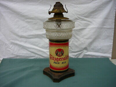 Antique Fitzgerald Pale Ale Qt.Beer Can Oil Lamp Iron Base Glass Oil Font