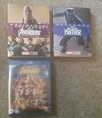 Avengers Infinity War blu ray with collectors card sleeve & Black Panther Marvel