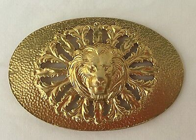 Vintage Large Gold Tone Lion Head Belt Buckle 4""