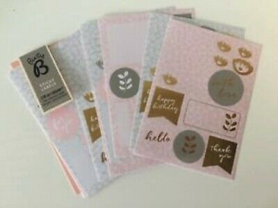Busy B Sticky Labels Multi Use Gift Craft Sticker Collection Set Pink Gold Grey
