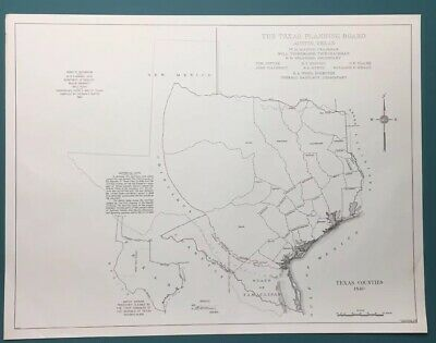Antique 1840 Map Of Texas Counties Texas Planning Board Vintage Copy