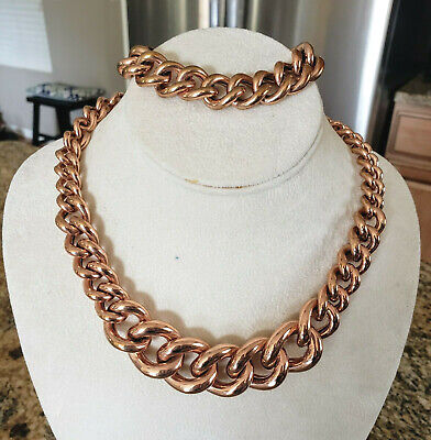 Milor Italy Bronze Chained Fascinating Magnetic Link Bracelet Earrings Set Precious Metal Without Stones