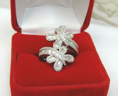 Large Natural 1 CT Baguette Diamond Butterfly Bypass Ring Sterling Silver Sz 7