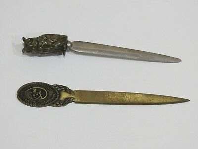 Lot of 2 Antique Vintage Metal Letter Openers