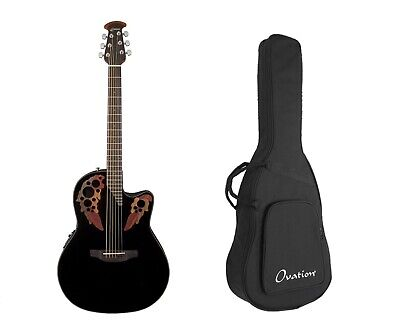Ovation Celebrity Elite Acoustic-Electric Guitar, Black + Gig Bag