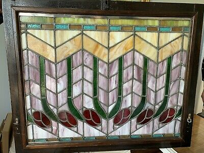 Beautiful Pair of Antique Stained Leaded Glass Opera Windows Circa 1900's
