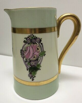 "7"" Arts & Crafts, Art Nouveau, Deco Glasgow Rose Hand Painted Porcelain Pitcher"