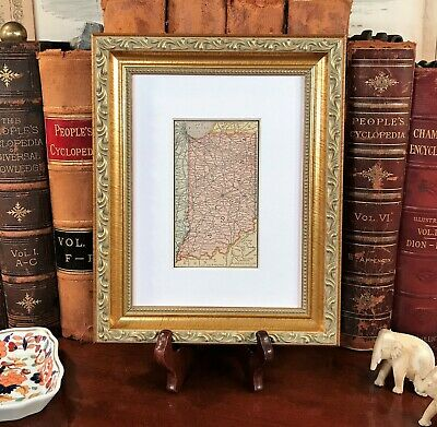 Framed Original 1886 Antique Map INDIANA Muncie Carmel Kokomo Elkhart South Bend