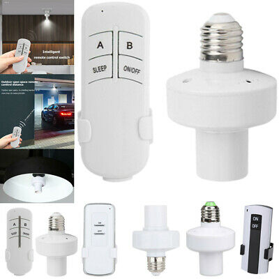 E27 Screw Wireless Remote Control Light Lamp Base Bulb Holder Cap Socket #C