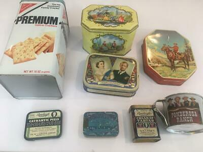 Lot of 9 Vintage Advertising Tins Queen Elizabeth II Cornation Rawleigh's