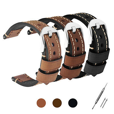 Mens Genuine Soft Leather Watch Strap Band Black Brown Light Brown 22mm 24mm