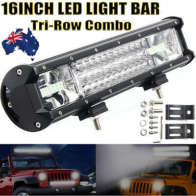 16INCH CREE LED Work Light Bar Triple Row Combo Beam Driving Offroad 4WD Truck