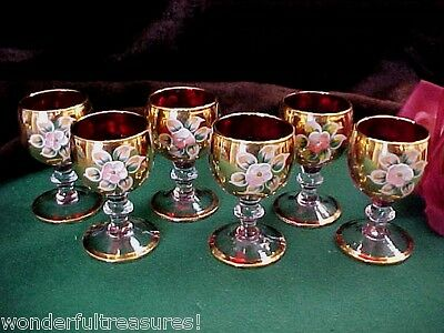 6 FAB RUBY GOLDPLATE Ring FOOT Shot Cordial Glasses HP FLOWERS MURANO Tag ITALY!