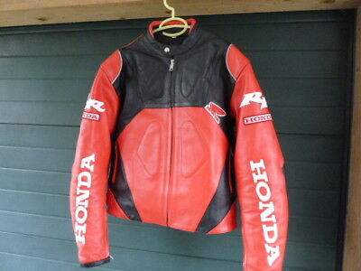 Motorcycle leather jacket Honda RR HRC red/black New Vintage fireblade cbr WOW!!