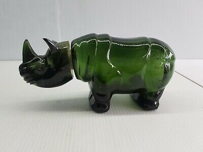 Avon men's aftershave glass bottle empty collectable rhinoceros African green