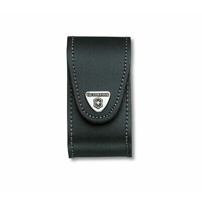 Black Leather Pouch with Hook-and-Loop Fastener - Victorinox