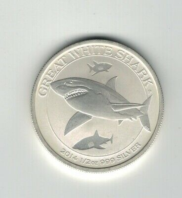 1/2 Troy Oz 2014 GREAT WHITE SHARK .999 Fine Silver Round Coin