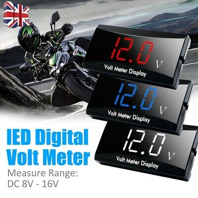 DC 8V~16V LED Digital Display Voltmeter For Motorcycle Car Waterproof Mini