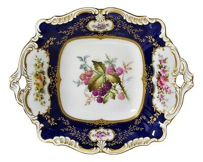 Antique Coalport China Hand Painted Raised Gold Cobalt Blue Handled Plate / Tray