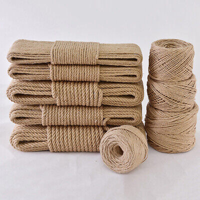 5-10M Natural Hemp Linen Cord Twisted Burlap Jute Twine Rope String Craft Brown