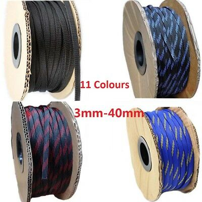 3mm-40mm Braided Cable Sleeving/Auto Wire Harnessing/Sheathing 11 Colours PET