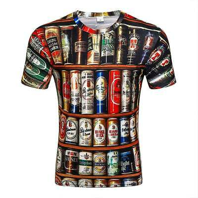 3D Men Women T-Shirt Tees Full Print Beer Cans Drink Top Quality Collection