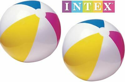"2 x 20"" Intex Inflatable Blow Up Panel Beach Ball Swim Pool Float Toy Twin Pack"