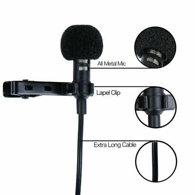 Clip-on Lapel Mini Lavalier Mic Studio Microphone 3.5mm For Phone PC Recording