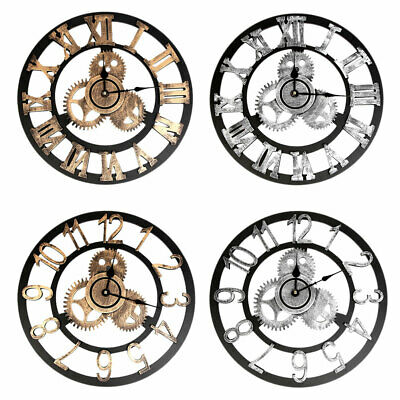 Industrial Vintage Wood Gear Round Wall Clock Roman Steampunk Home Room Decor