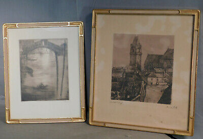 Pair Arts Crafts Carved Gilt Wood Picture Frame Etching Venice Closed Corner