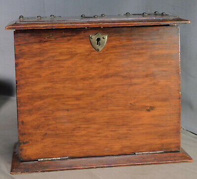 Antique Edwardian Dark Quarter Sawn Oak Stationary Cabinet Box Case Arts Crafts
